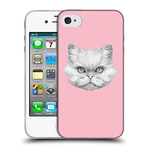 GoGoMobile Coque de Protection TPU Silicone Case pour // Q05330630 chat persan Rose // Apple iPhone 4 4S 4G