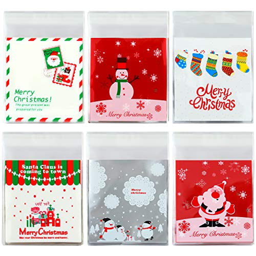 Elcoho 300 Pieces Christmas Cookie Treat Bags Candy Bags Self Adhesive Clear Cookie Bags Trick Cellophane Treat Bags for Party Gift Supplies, 6 -