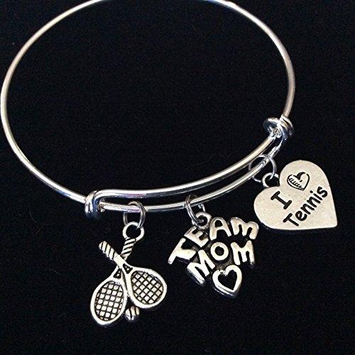 - Love Tennis Team Mom Rackets Expandable Silver Charm Bracelet