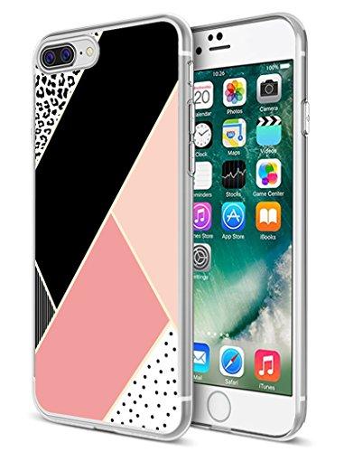 for iPhone 8 Plus Case,for iPhone 7 Plus Case,Ecute Soft Slim Clear Rubber Side + Style Hard Back Case Compatible with iPhone 8 Plus(2017) and iPhone 7 Plus(2016) - Pink Black Leopard Design ()