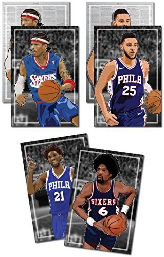 3 Posters of Philadelphia 76ers / Sixers - Allen Iverson, Ben Simmons, Julius
