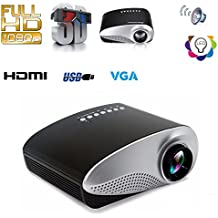 Fashionable Mini 3D Multi-media Portable Video RD-802 RD802 LED Projector Game Cinema Home Theater Cinema Movie Projector SD USB PC DVD TV Moive TXT Music Input for Outdoor Indoor, Black