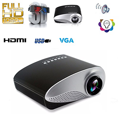 Fashionable Mini 3D Multi-media Portable Video RD-802 RD802 LED Projector Game Cinema Home Theater Cinema Movie Projector SD USB PC DVD TV Moive TXT Music Input for Outdoor Indoor, Black by unbrand
