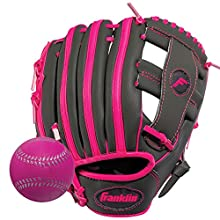 "Franklin Sports RTP Teeball Performance Gloves & Ball Combo, Graphite/Pink, 9.5"", Right Hand Throw"