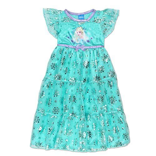 - Disney Frozen Elsa Anna Girls' Fantasy Gown Nightgown Pajamas (4T, Blue/Purple)
