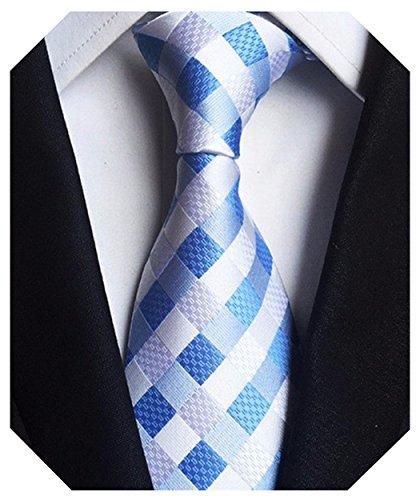Wehug Men's Classic Plaid Tie Silk Woven Necktie Jacquard Neck Ties For Men White Blue ()
