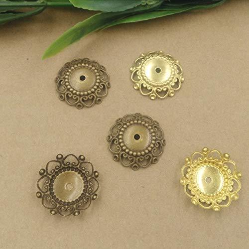 Calvas 24mm Bowl Filigree Charms/Pendant Copper with Antique Bronze Handmade,Fallen Petal Parts Vintage Jewelry - (Item Diameter: OriginalBronze 50pcs)