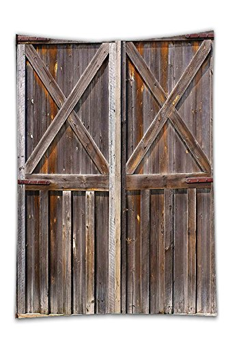 Interestlee Satin drill Tablecloth?Rustic Decor Old Wooden Barn Door of Farmhouse Oak Countryside Village Board Rural Life Photo Print Brown Dining Room Kitchen Rectangular Table Cover Home Decor (Faux Barn Door Mirror)