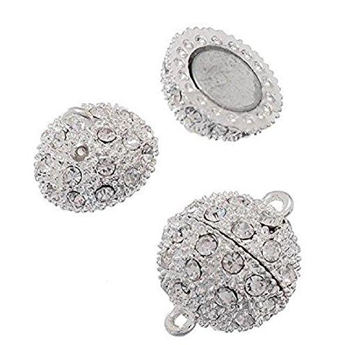 DierCosy Silver Plated 5 PCS Crystal Shamballa Rhinestone Pave Ball Magnetic Beads Clasp for Bracelet Necklace Jewelry, 10 mm (Pave Clasp Ball)