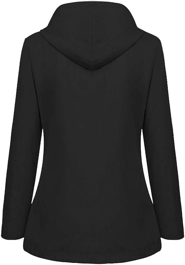BEIXUNDIANZI Womens Raincoat Lined Waterproof Breathable Winter Warm Outdoor Rain Jacket with Hood Softshell Windbreaker Hooded Womens Jacket Outdoor Windproof Overcoat G-black