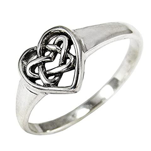 Sterling Silver Celtic Love Knot Heart Ring Size 5 - Celtic Love Symbol