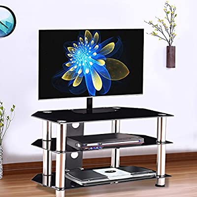"Premium Glass TV Stand Entertainment Console Rack for 37"" - 47"" TV with 3 Tier Glass Shelf for Modern Contemporary Home Living Room Spaces, Black"
