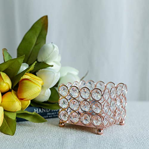 Tableclothsfactory Rose Gold Illuminating Square Votive Tealight Wedding Crystal Candle Holder - 3.25