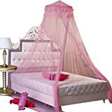 Round Hoop Princess Mosquito Net Bed Canopy, Rusee Lace Dome Netting Bedding Double Bed Conical Curtains, Fly Screen Netting (Pink)