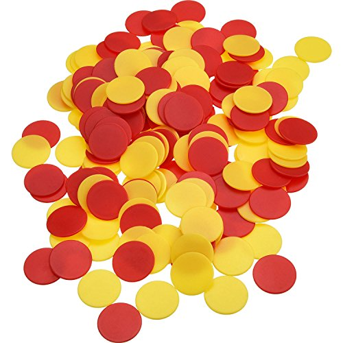 Pangda 200 Pieces Colored Plastic Counters Counting Chips Bingo Markers with Storage Bag for Math or Games (Yellow, Red)