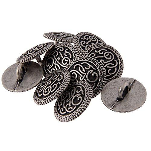 Zinc Diecast Metal Shank Button - Celtic Scroll Pattern - 24Line - Antique Silver