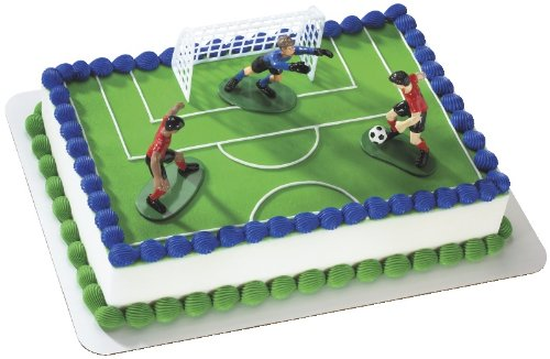 Cake Decorations Ideas - Soccer- Kick Off Boys DecoSet Cake
