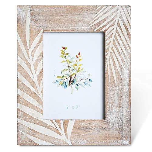 BOLUO Tropical Picture Frames 5x7 Distressed Wood Photo Frame Palm Leaves Decorations Rustic Decor - Photo Tropical