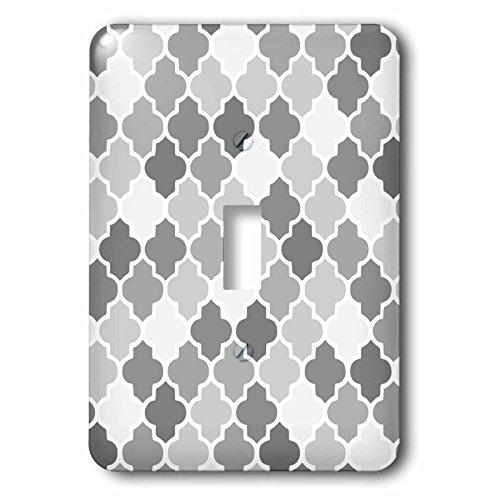 3dRose LSP 120263_ 1gris patrón de Quatrefoil en diferentes tonos de gris estilo marroquí, diseño de celosía de moda...