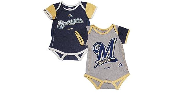 e93e08119 Amazon.com  Majestic Milwaukee Brewers Baby Infant 2 Piece Creeper Set   Sports   Outdoors