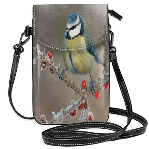 Women Small Cell Phone Purse Crossbody,Blue Tit Parus Caeruleus On Berries In Frost Midlands Winter Time Britain UK ()