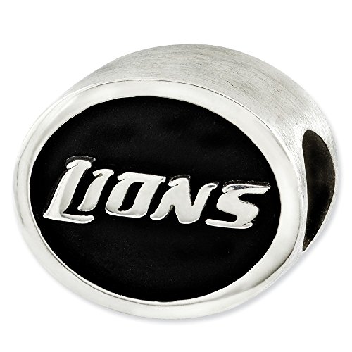 Jewelry Beads Themed Sterling Silver Enameled Detroit Lions NFL Bead