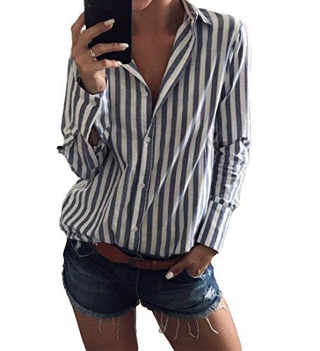 Marsarah Women's Vertical Striped Button Down Shirt V Neck Long Sleeve Blouse Tops (X-Large, (Blue Striped Oxford Shirt)