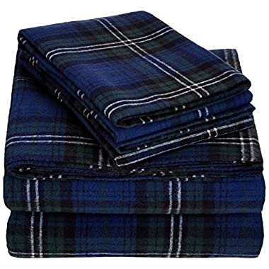 AmazonBasics Yarn-Dyed Lightweight Flannel Sheet Set - King, Blackwatch Plaid