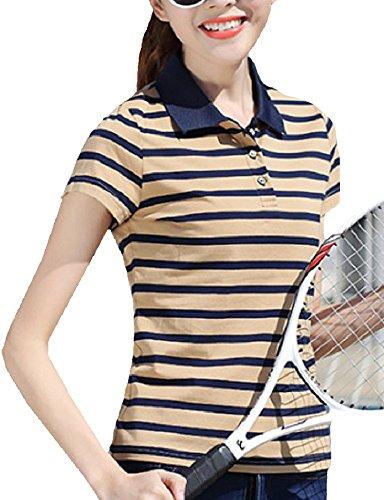 Heaven Days(ヘブンデイズ) ポロシャツ ゴルフシャツ ボーダー バイカラー シンプル 半袖 レディース 1707G0085