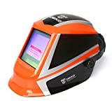 Solar Powered Welding Helmet Auto Darkening Professional Hood with Wide Lens Adjustable Shade Range 4/9-13 for Mig Tig Arc Weld Grinding Welder Mask (Orange)