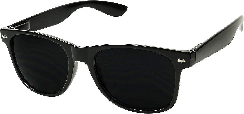ShadyVEU Super Dark Round Sunglasses UV Protection Spring Hinge Classic 80's Shades Migraine Sensitive Eyes