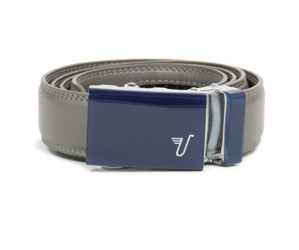 Mission Belt Kid's Ratchet Belt - Kid Storm - Blue Buckle / Gray Leather, Small / Medium (Up to 26