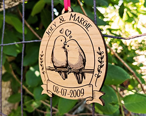 Newlywed Christmas Ornament Lovebirds Personalized Heart Tree Trunk Design Mr Mrs Wedding Date Name Engraved Couples Our First Christmas Gift for Him Her Engagement Together (Cute)