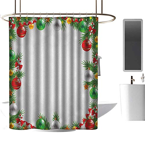 TimBeve Shower Curtain Liner Christmas,Abstract Snowy Winter Backdrop Classical Realistic Xmas Garland Vibrant Print, Multicolor,Eco-Friendly,Bathroom Curtain 36