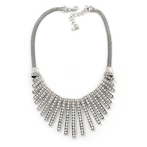 Vintage Inspired Crystal Bars Bib Style Necklace In Antique Silver Finish - 40cm Length/ 7cm Extension by Avalaya