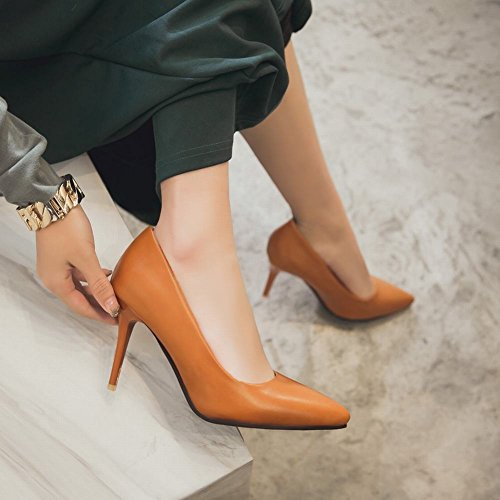 sólido Stiletto mujer moda zapatos punta Carolbar Color marrón Tacón de para corte alto estrecha de 5xBwp8F
