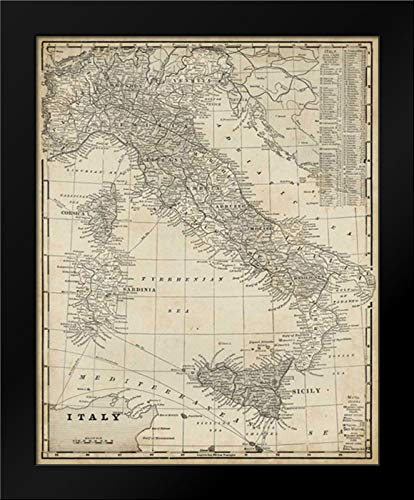 (Antique Map of Italy 20x24 Framed Art Print by Vision Studio)