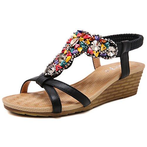 Hattie Women's Bohemian Beaded Wedge Sandals Summer Beach Peep Toe Shoes Black-B 70IYJu