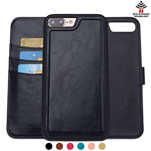 SHANSHUI Wallet Case Compatible with iPhone 6 Plus/6s Plus 5.5'', PU Leather RFID Blocking Detachable Kickstand Feature Credit Card Slots Cash Pocket Folio Case Flip Stand Cover (Black- 5.5'')