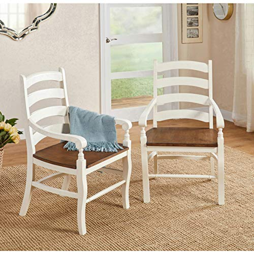 "The Mezzanine Shoppe 51319WBN PR Midland Modern Two-Tone Wooden Dining Armchair, 24.25"", Set of 2, White/Brown"