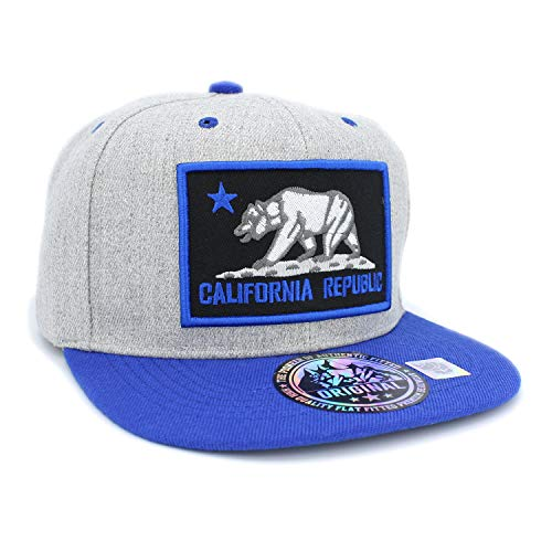 (LAFSQ Embroidered California Republic Bear in Square Patch Snapback Baseball Hat (Hgrey/Blue/Blue))