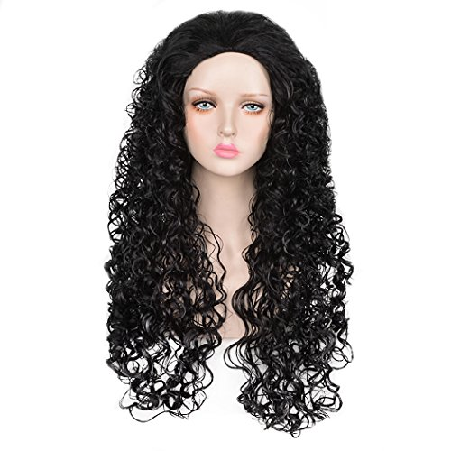 SiYi Anime Long Curly Black Wig for Mens Halloween Cosplay Costume Wigs (Homemade Halloween Costumes For Men)