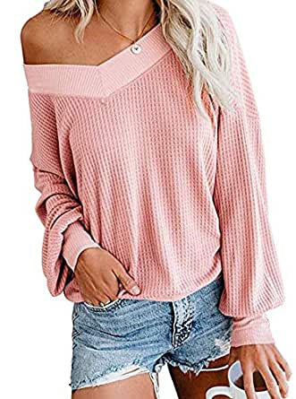 Womens V Neck Long Sleeve Pullover Tops Waffle Knit Off Shoulder Sweaters(Pink, S)