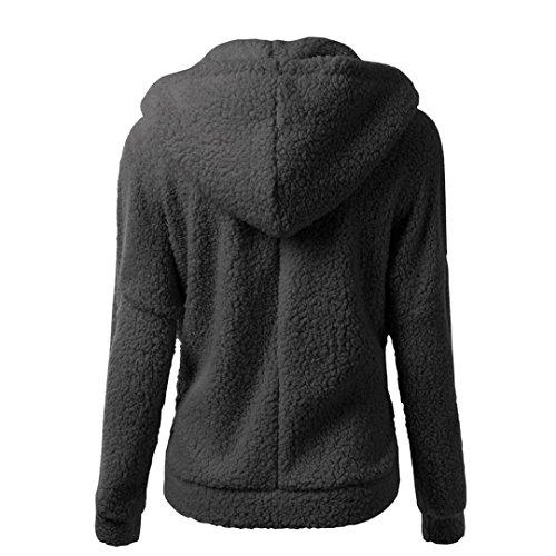 Women Coat,Haoricu Clearance Fashion Women Winter Warm Soft Zipper Hooded Sweater Coat Outwear (XL, Black)