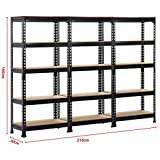 "Yaheetech Heavy Duty Metal Storage Sheleves,5 Adjustable Shelving Units,60""Height,1653 Lb,Capacity per Shelf (Pack of 3)"
