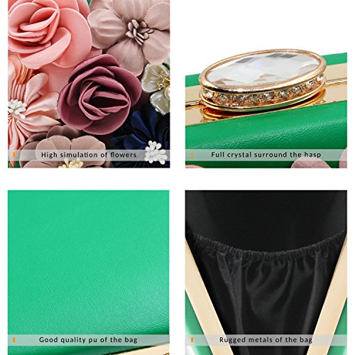 Clutches Evening Green Milisente Clutch Purse Bags Wedding Women Handbags Flower HZWgO