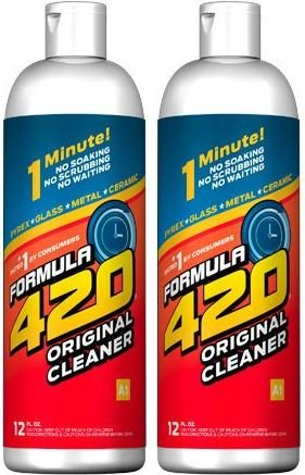 Original Cleaner by Formula 420   Glass Cleaner   Cleaner Pack   Safe on Glass, Metal, Ceramic, and Pyrex   Cleaner - Assorted Sizes (12 oz - 2 Pack)