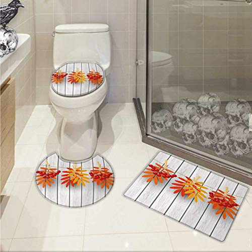 Carl Morris Rowan bath rug set Vibrant Autumn Leaves and Red Fruits Hanged with Clothes Pin on a String Print 3 Piece Shower Mat set Grey Orange Red ()