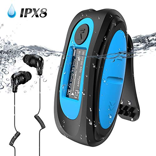 Waterproof MP3 Player with Screen,Swimming MP3 Player with Rotatable Clip, IPX8 Headphones for Running Water Sports,AGPTEK S07E 8GB Music Player Support FM, (Best Music Players)