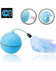 WLMall KatzenSpielzeug elektrisch Ball, eingebautem Akku [USB-Ladevorgang] 360 Grad-selbstdrehender Ball, LED Licht - Abnehmbarer Feder Interaktives Spielzeug
